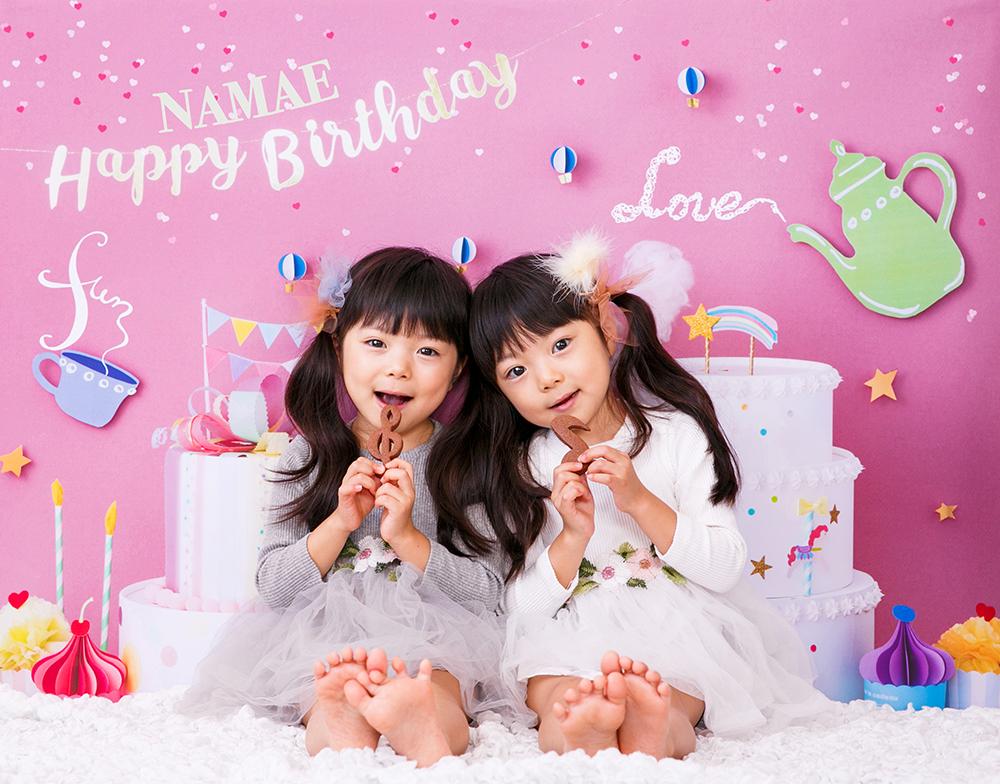 誕生日写真を自宅でおしゃれに楽しめます。デザインは「sweets land pink」
