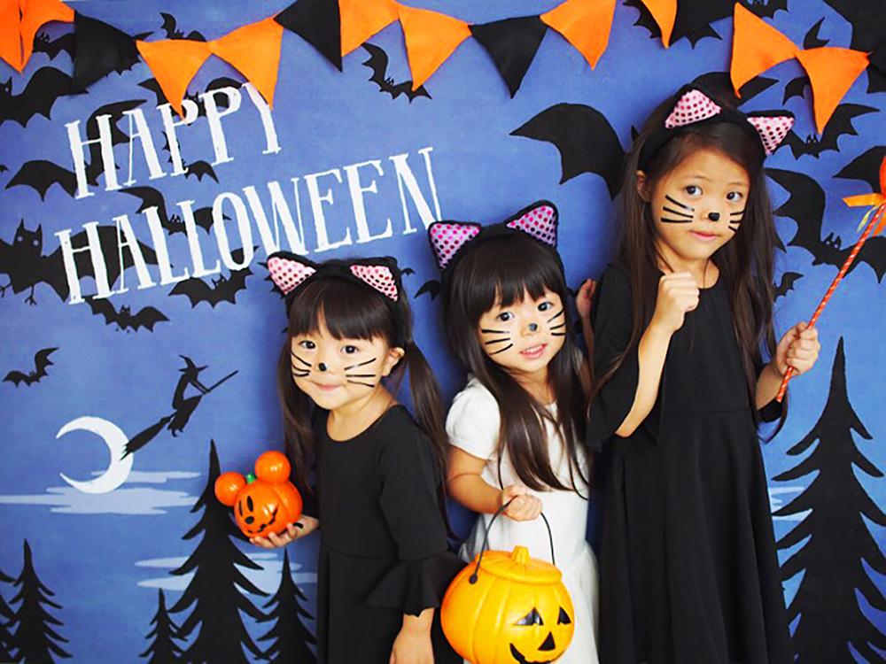 ハロウィン背景 デザイン Halloween night グラこころ 女の子の写真 黒猫 魔女 仮装 ハロウィンカチューシャ ハロウィンクッキー