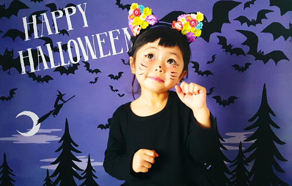 ハロウィン背景 デザイン Halloween night グラこころ 女の子の写真 黒猫 魔女 仮装 ハロウィンカチューシャ
