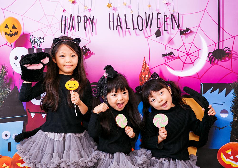 ハロウィン背景 デザイン Trick town グラこころ 女の子の写真 黒猫 魔女 仮装 ハロウィンカチューシャ ハロウィンクッキー