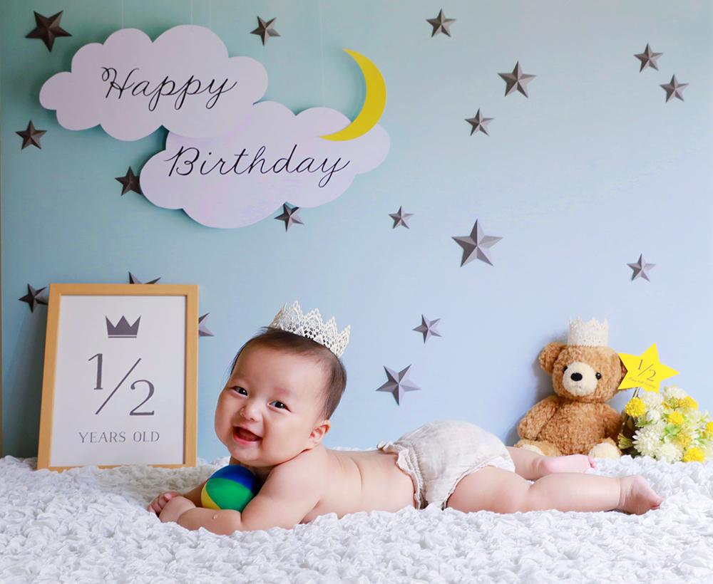 誕生日写真を自宅で簡単に撮れる「おうち写真館」こちらのデザインはmoon&star